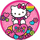 """Adorable Hello Kitty Rainbow Round Paper Plates Birthday Party Disposable Tableware (8 Pack), Pink, 7""""."""