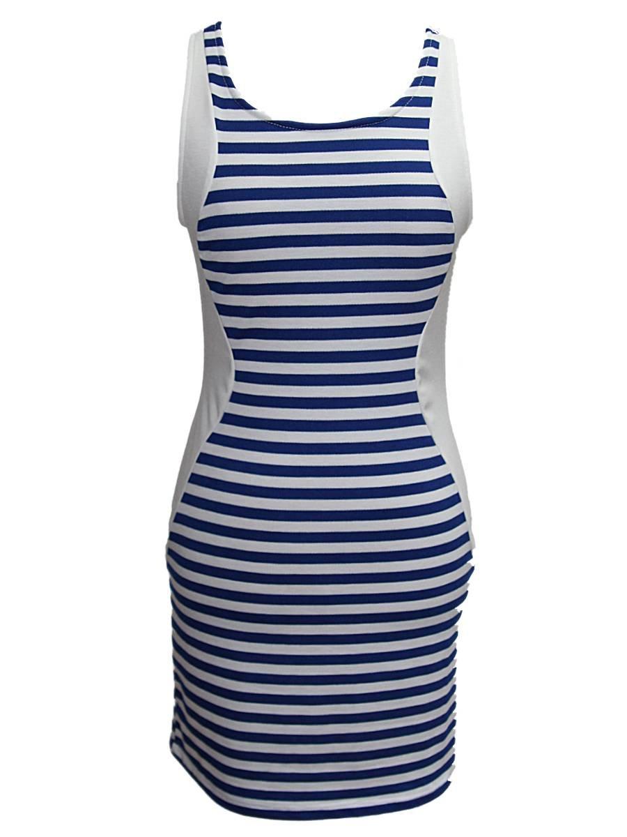 YogaColors Colorblock Blue and White Stripe Tank Dress: