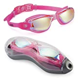 Aegend Swim Goggles, Swimming Goggles No Leaking Anti Fog UV Protection Triathlon Swim Goggles with Free Protection Case for Adult Men Women Youth Kids Child, Multiple Choice (Color: Rose Red Silver)