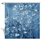 CafePress Almond Branches In Bloom Blue Shower Curtain - Standard White