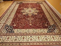 Luxury Red Silk Area Rugs for Living Room Traditional Area Rugs Dining Room 7x10 Red Rugs 6x9 Red Persian Kashan Area Rug Floor Carpet (Large 7\'x10\')
