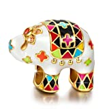 NINAQUEEN 925 Sterling Silver Enamel Animal Elephant Bead Charms for Pandöra Bracelets Birthday Anniversary for Her Women Wife Girlfriend Teen Girls Niece Sisters Daughter Kids (Color: Multicolor)
