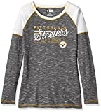 NFL Pittsburgh Steelers Women's Long Sleeve Raglan Open Neck Tee, Large, Black Staccato/White/Yellow Gold