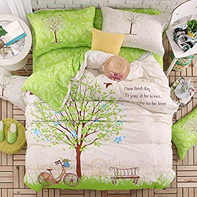 TheFit Paisley Textile Bedding for Adult U516 Green Tree in The Park Duvet Cover Set 100% Cotton, Twin Queen Set, 3-4 Pieces