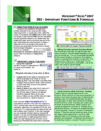 Microsoft® Excel® 2007 Quick Reference Guide - Excel 302: Important Functions & Formulas