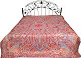 Exotic India Rococco-Red Reversible Super-Silk Jamawar Bedspread with Woven Paisleys - Pure Silk
