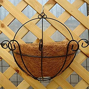 Interesting® Hanging Basket Planter Coconut Iron Art Wall Flowerpot from Interesting