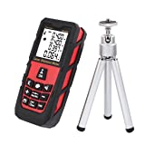 DMiotech Laser Distance Measure 131ft 40m Mini Handheld Digital Laser Distance Meter Rangefinder Measurer Tape Red with Tripod (Tamaño: 131ft Red with Tripod)