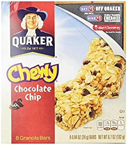 Quaker Chewy Granola Bar, Chocolate Chip, 8-Count Bars (Pack of 12)