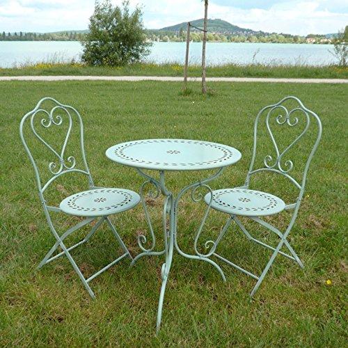 Htdeco – Fer forgé – Satz von Bistro in Schmiedeeisen, 1 Tisch, 2 Stühle jetzt kaufen