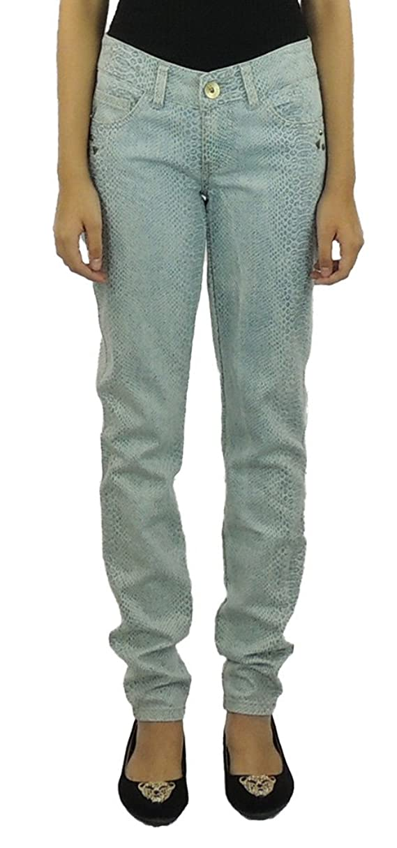 XOXO Women's Animal Print Skinny Jeans Blue