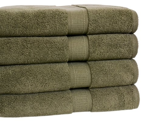 Calcot Growers Collection 100-Percent Zero-Twist Supima Cotton 4-Piece Bath Towel Set, Moss Green