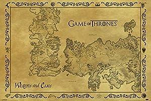 Game of Thrones Poster Westeros & Essos Map Antic (91,5cm x 61cm)