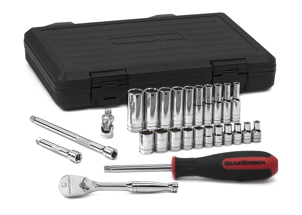 GearWrench 80313 1/4-Inch Drive 12 Point Standard SAE Socket Set, 26-Piece
