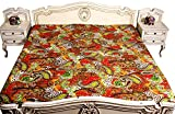 Kantha Stitch Quilt Paisley Print Double Bedspread & Floral Bed Cover Red Color 90x108 Inches