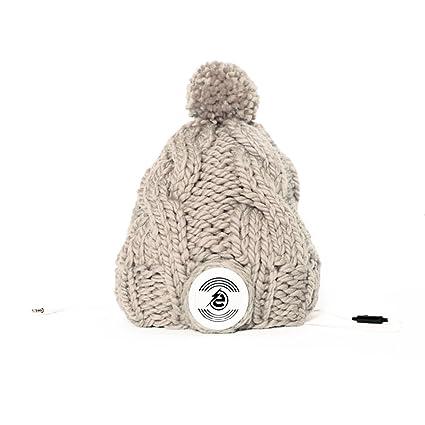 Earebel eRH330402 bonnet Unisexe tricoté main avec Casque AKG amovibles, Gris clair et écouteur Blanc (Large)