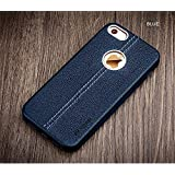 Vorson ® LEXZA Series Double Stitch Leather Shell Back Cover Case For Apple IPhone 5/5S/SE - Blue