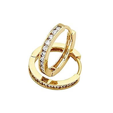 "14K Yellow Gold Plated 2.5mm Thickness CZ Channel Set Hoop Huggies Earrings (0.7"" or 17mm): The World Jewelry Center"