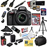 Nikon D3300 Digital SLR Camera with 18-55mm NIKKOR VR II Lens With Must Have Accessory Kit - Includes 32GB High-Speed SDHC Card + Card Reader + Extra Battery + Travel Charger + 5 Piece Pro Filter Kit (UV - CPL - FL - ND4 and 10x Macro Lens) + HDMI Cable + Padded Gadget Bag + Remote Control + Professional 60