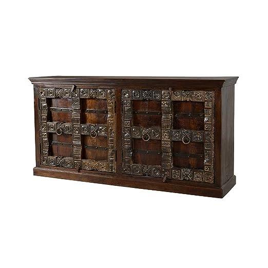 Massivholz Sideboard im Indischen Design Teak Pharao24