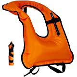 Snorkel Vest Inflatable Adult life vests Free Diving Swimming Safety Load Up To 220 Ibs Orange