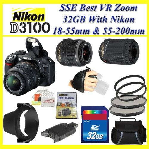 Nikon D3100 14.2MP Digital SLR Camera with with 18-55mm & 55-200mm NIKKOR VR Lenses + Best Value 32GB, Deluxe Carrying Case & Lens Complete Accessories Package