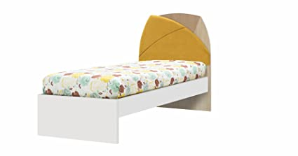 New Land Single High Bed with UV Printed Mustard Wood, White