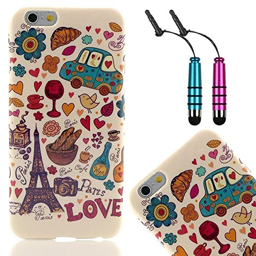 Vandot Accessories Set Paris Soft Silicone Tpu Phone Case Cover For Apple Iphone 6 4.7 Inches Case Skin Crystal Protective Case Cover Mobile Phone Shell Case Mobile Phone Bag With Eiffel Tower Love + 2X Mini Crystal Touch Stylus Pen Touch Pen With 3.5Mm A front-940004