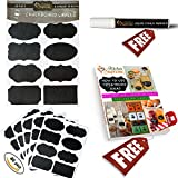 Chalkboard Labels Stickers Bundle with FREE Liquid Chalk Marker - Set of 40 with 8 stylish designs - Large stickers for pint mason JARS, cookie, canning, biscotti or jelly jar, spray or shaker BOTTLE, wine GLASSES, canisters, folders, office supplies, toy beans - Get more FREE TIME by organizing your cupboard, pantry storage, containers, birthdays and kids bedrooms - Endlessly REUSABLE and easy ERASABLE wedding decals