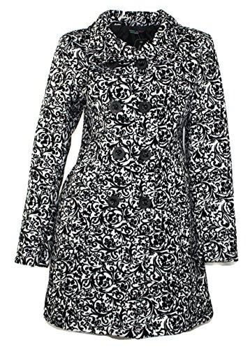 #696 Damen Luxus Designer Patchwork Winter Mantel Schwarz Weis geflockt Neu 36 38 40 42 (38)