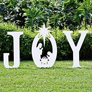 Teak isle christmas joy nativity yard sign for Amazon christmas lawn decorations
