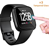 EAPFCT Compatible Fitbit Versa Screen Protector [Tempered Glass], Waterproof Fitbit Versa Smartwatch Screen Protector Glass,Anti-Scratch, Bubble-Free Install,Crystal Clear (3 Pack)