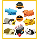 By Erco 6 Pack Cable Animal Bits Protectors, Cute Animal Look USB Charging Cord Savers, Cable Buddies, 100% Compatible for Apple/iPhone/iPad, Comes in 6 Different Models in Zipper Storage Case (Color: multi color 6 pack, Tamaño: 2*2*4 cm)