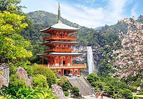 Puzzle 1000 Teile - Seiganto-Ji Temple - Japan - Pagode Zeichnung - Gemälde - Landschaft romantisches Motiv - buddhistischer Tempel & heiliger Wasserfall Nachi-no-Otaki - Tempelanlage - Pilgerweg