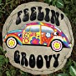 Feelin Groovy Hippie VW Beetle Resin Stepping Stone For Garden Fence Or Wall