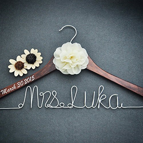 personalized bridal dress hanger bridal shower gift custom rustic
