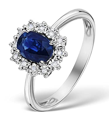 TheDiamondStore | Cluster Ring - Oval Blue Sapphire & Diamond - 9K White Gold