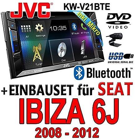Seat ibiza 6J 2DIN anthracite noir jVC kW-v21BTE tFT dVD bluetooth cD-mP3/uSB avec kit de montage