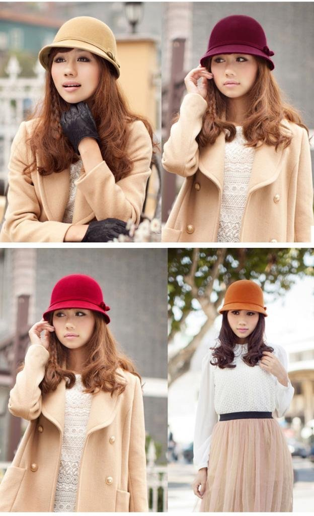 Vbiger Fashion New Women Vintage Wool Round Fedora Cloche Cap Wool Felt Bowler Hat 4