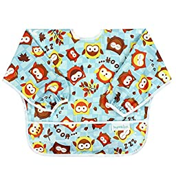 Bumkins Waterproof Sleeved Bib, Owls (6-24 Months)