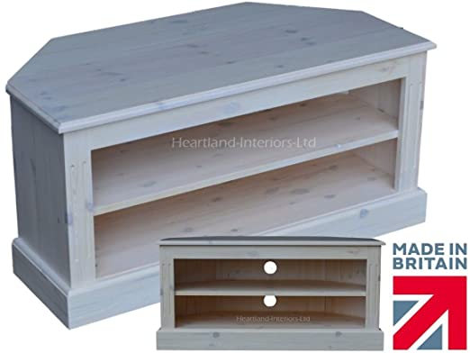 Solid Pine Corner TV Unit, Traditional White Washed Open Entertainment Stand. Choice of Colours. No flat packs, No assembly (TVHPC1)