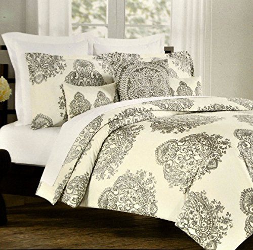 Nicole Miller Home King Or Queen Duvet Cover And Shams Set, Gray Paisley Moroccan Medallion Print (Queen)