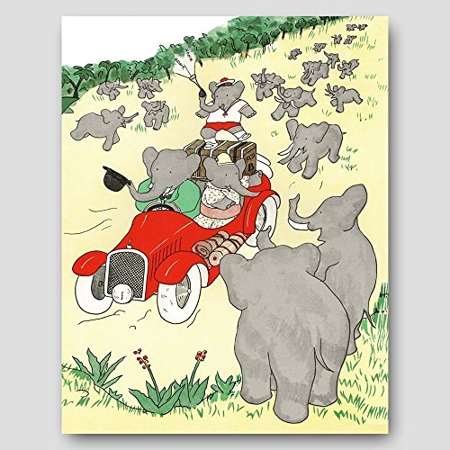 Car Nursery Print, Babar the Elephant (Baby Boy Wall Art, Fun Girls Room Decor)