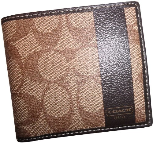 Coach   Coach Men's Heritage Khaki Brown Leather Double Billfold Wallet 74512