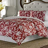 Stone Cottage Ceylon Cotton Sateen Duvet Cover Set, King, Red