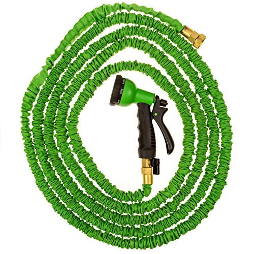 50ft Expandable Garden Hose Water Hose Solid Brass Ends 8 Position