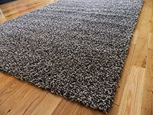 LARGE SMALL STYLISH GREY SILVER MIX MEDIUM NEW MODERN SOFT THICK SHAGGY RUGS NON SHED RUNNER MATS 120 X 170 CM (4FT X 5FT 7) FREE UK MAINLAND DELIVERY