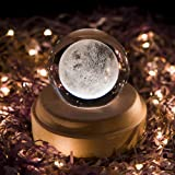 Projection LED Light-3D Crystal Ball Music Box Luminous Rotating Musical Box-Wood Base Best Gift for Birthday Christmas (Moon) (Color: Moon)