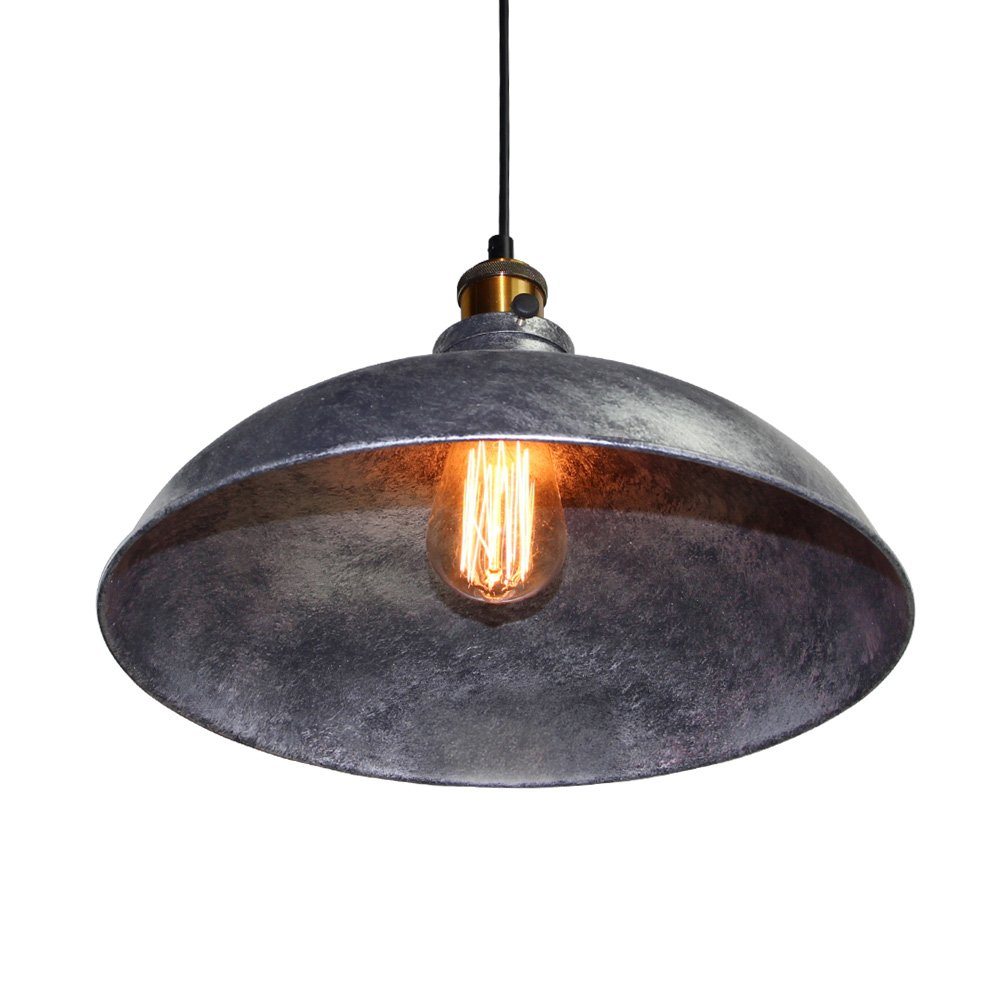 LNC Vintage Pendant Lights, Industrial 1-light Adjustable Hanging Lights, Brass Finish, Gray Metal Shade 2