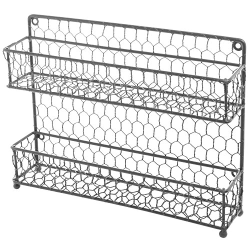 MyGift® Rustic Gray Dual Tier Wire Spice Rack Jars Storage Organizer (Kitchen Countertop or Wall Mount) (Countertop Organizer Rack compare prices)